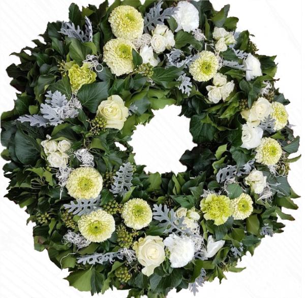 Trauerkranz in Weiß