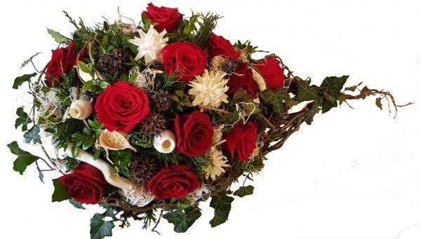 Grabgesteck zur Bestattung -rot weiß mit natur ,, Auf Reise in eine andere Welt,,