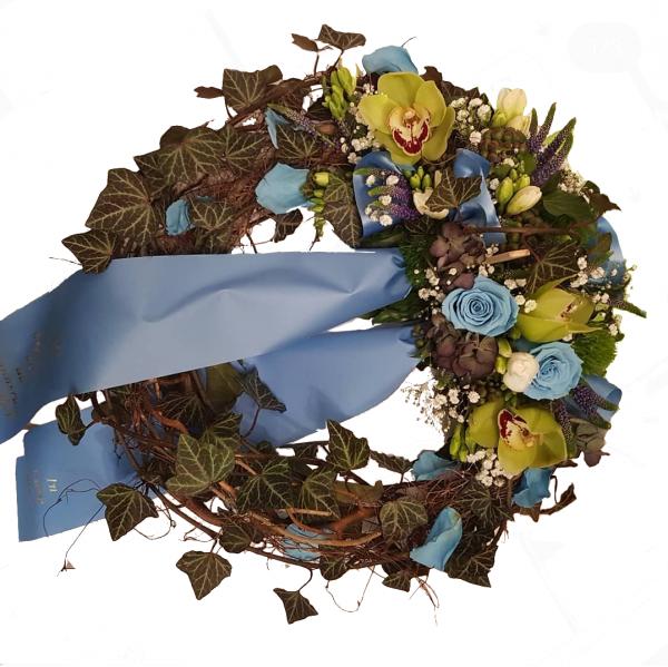Trauerkranz mit Orchiedeen und Infinity Rosen - mit Trauerschleife inkl. Text