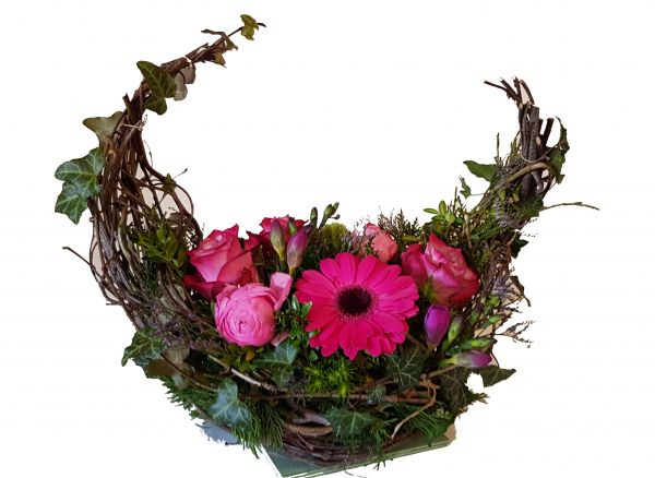 Grabgesteck senden mit frischen Blumen - Trauergesteck Schiff - rosa ,,Stille Reise,,
