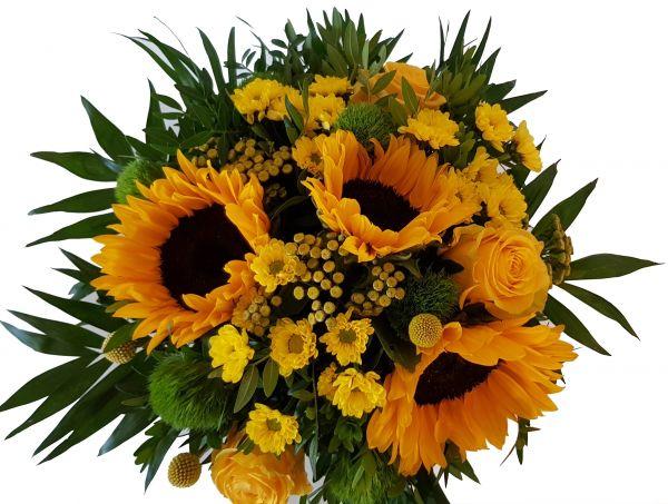 Blumenstrauß ,,Sun - Flower,, Frischer Strauß mit Sonnenblumen und Expresslieferung