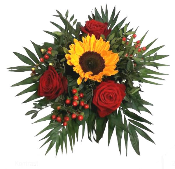 Blumenstrauß mit Sonnenblume und roten Rosen