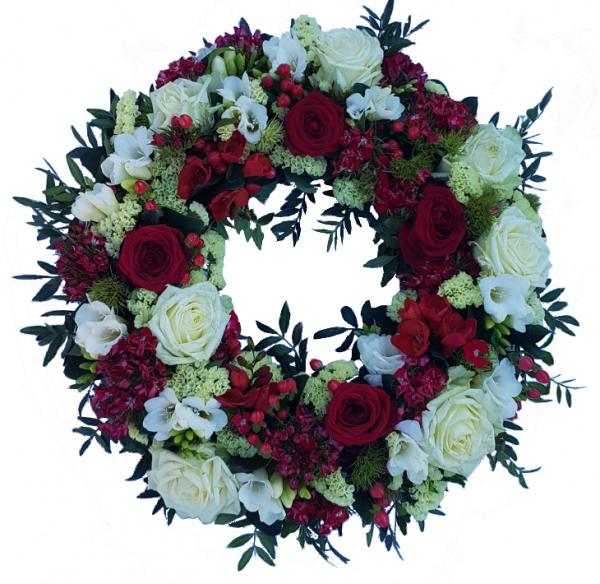 Trauerkranz mit Rosen in rot und weiß
