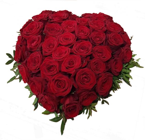 Blumiges Trauerherz aus roten Rosen