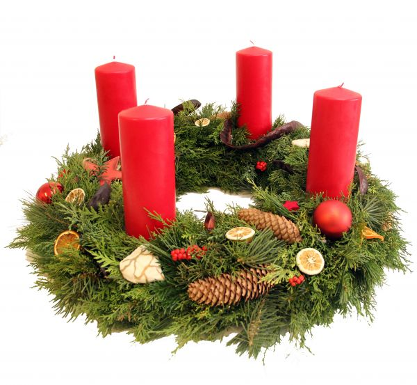 Adventskranz in rot vom Floristen