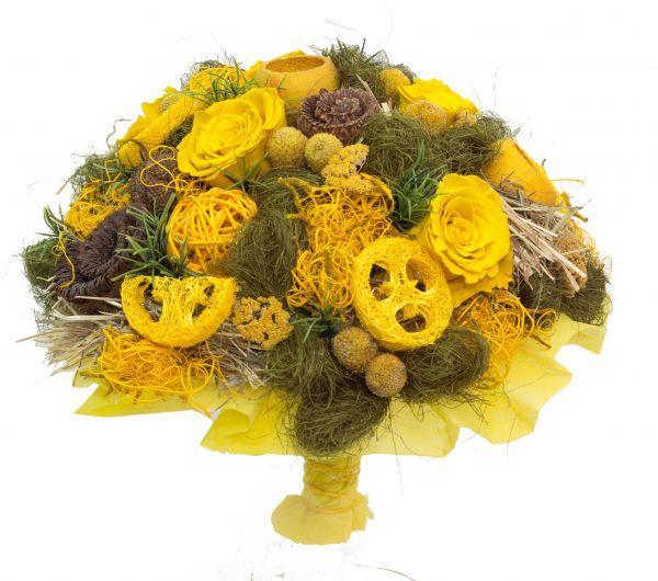 Trockenstrauß in gelb - ein tolles Geschenk zum Geburtstag oder zur Einweihungsparty