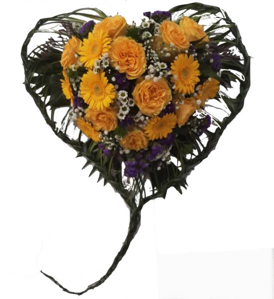 blumiges Trauerherz mit gelben Rosen - Herzgesteck