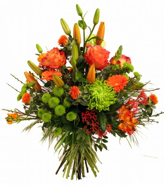 Dekorativer Blumenstrauß in orange als Dankeschön, zur Genesung, zum Geburtstag