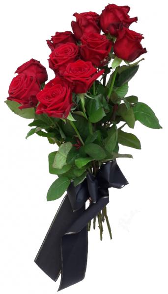 Trauerstrauß mit roten Rosen und mit schwarzer Schleife