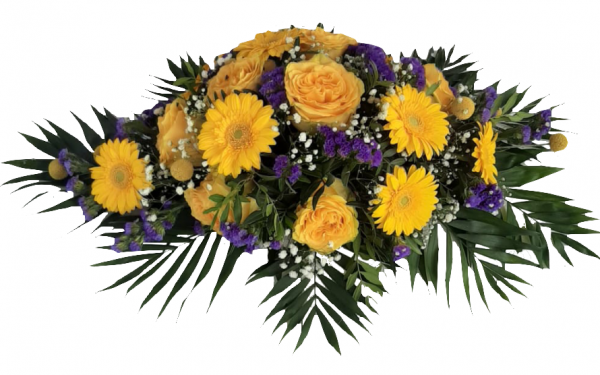 Trauerspange mit gelben Rosen und Craspedias