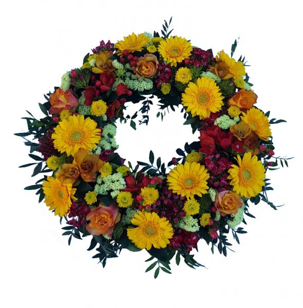 Trauerkranz mit Rosen in orange