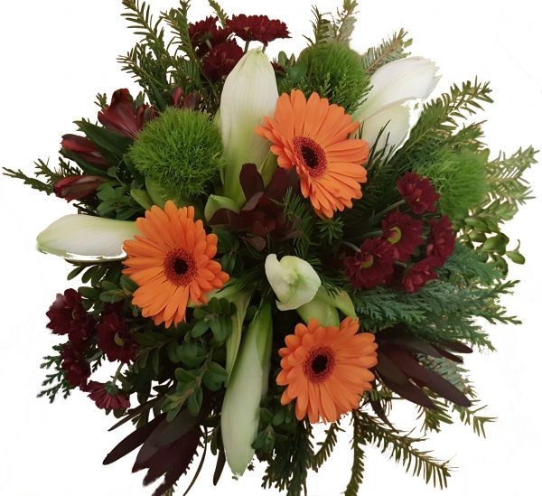 adventlicher Blumenstrauß weiße Amaryllis frisches Grün Farbakzente in orange/ rot zum Advent zu Weihnachten
