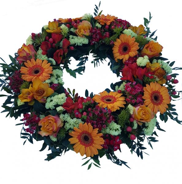 Kranz Beerdigung in orange