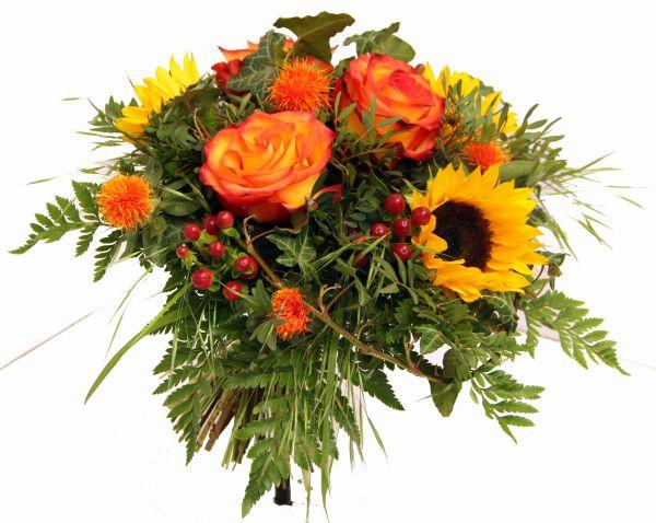 """Blumenstrauß """"Muntermacher"""" in gelb orange passend zur Genesung oder als Dankeschön oder zum Geburtstatg"""
