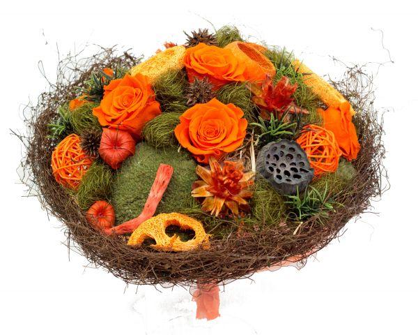Trockenstrauß orange mit echten gefriergetrockneten Rosen ideal als Geschenk zum Geburtstag, Jubiläum, zur Hauseinweihung