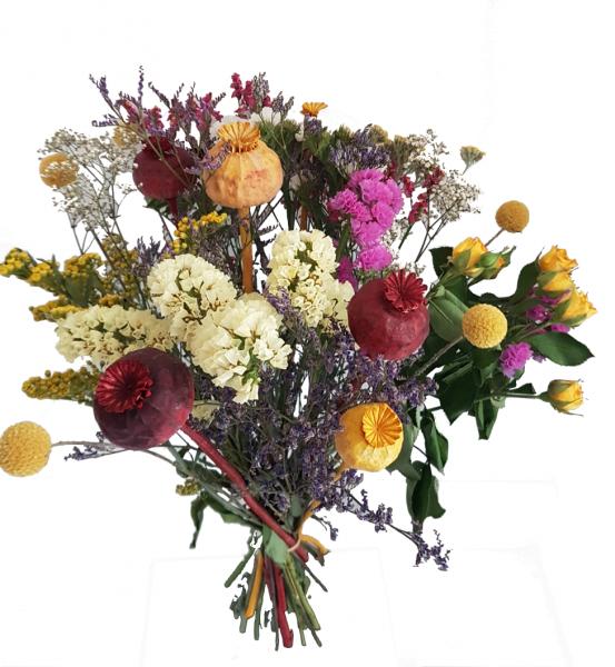 Trockenstrauß mit getrockneten Blumen