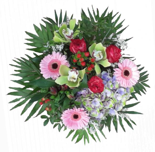 Blumenstrauß mit Orchiedeen und Rosen