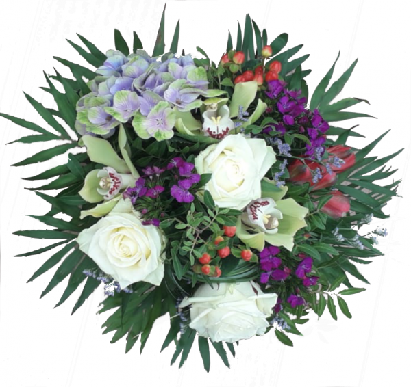 Blumenstrauß mit Orchiedeen und weißen Rosen