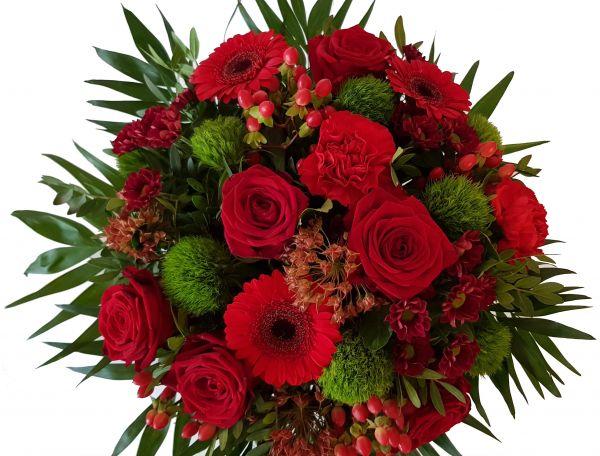 Blumenstrauß in Rot ,,Nur mit Dir,, Frischer Blumenstrauß mit Expresslieferung
