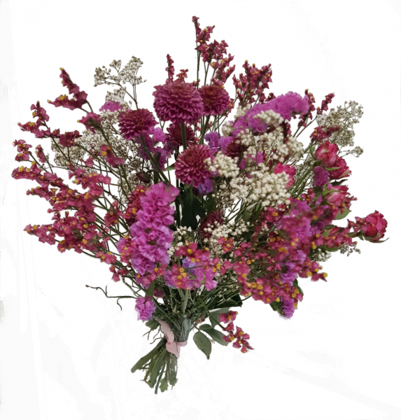 Trockenstrauß in Rosa mit getrockneten Blumen
