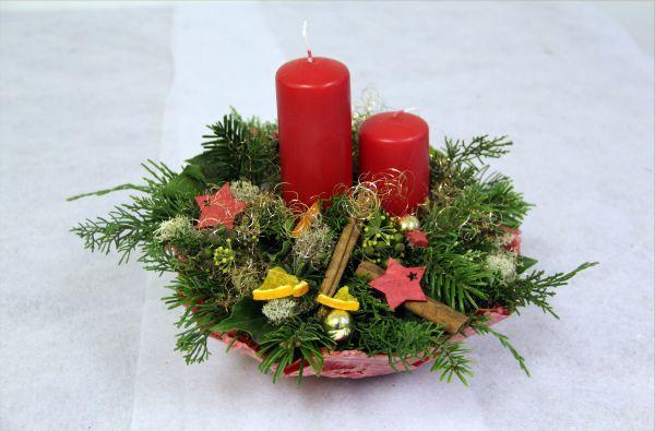 Adventsgesteck rot Weihnachtlicher Lichterglanz