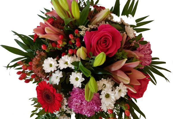 Blumenstrauß mit Lilien und Rosen kaufen,, Blumenstrauß für Sie,,