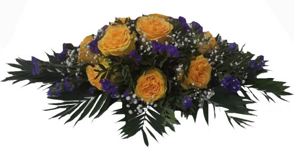 Trauergesteck mit gelben Rosen