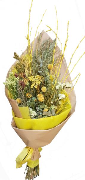 Sunny Easy -Trockenstrauß in gelb mit Trockenblumen