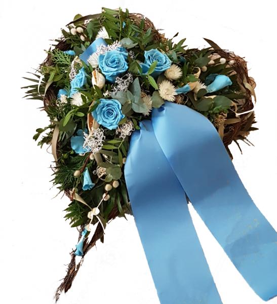 Grabgesteck Herz mit Blauen Ewigen Rosen