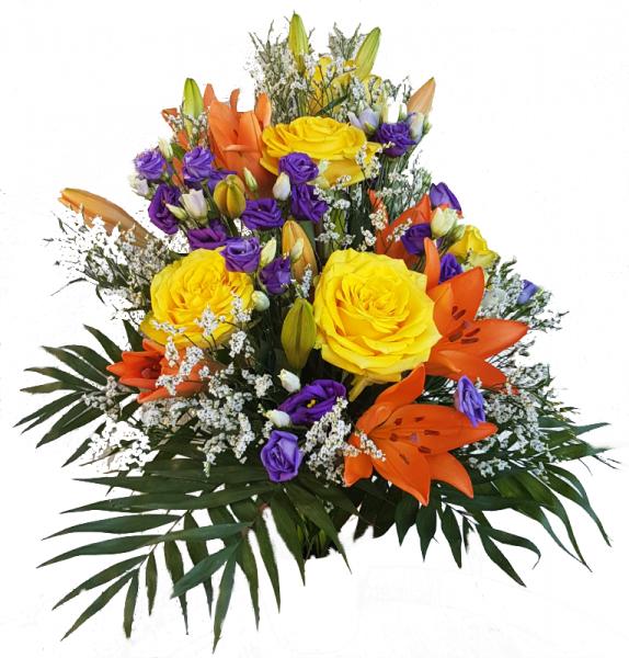 Farbenfroher Trauerstrauß mit Lilien und Rosen