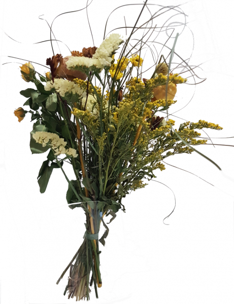 Trockenstrauß in Gelb mit Trockenblumen