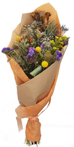 Sunny Easy -Trockenstrauß in gelb Violett/ Lila mit Trockenblumen