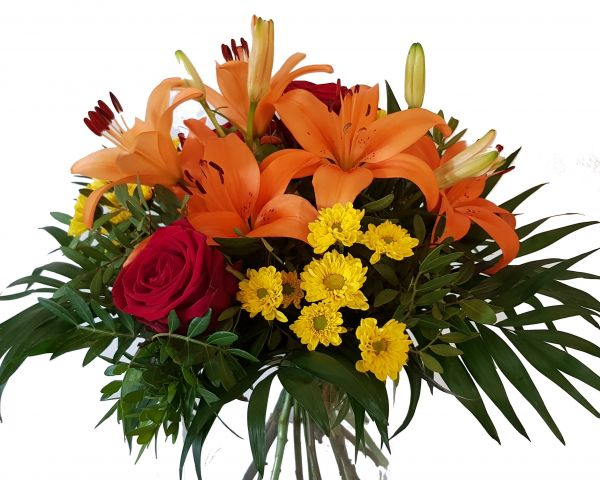 lange haltbar mit Lilien und Rosen> Frischer Blumenstrauß heute Versandfertig