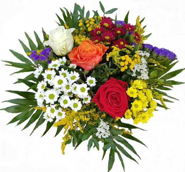 Bunte Blumensendung mit Rosen